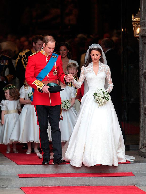 File photo dated 29/04/2011 of Duke and Duchess of Cambridge emerging from Westminster Abbey after the wedding ceremony