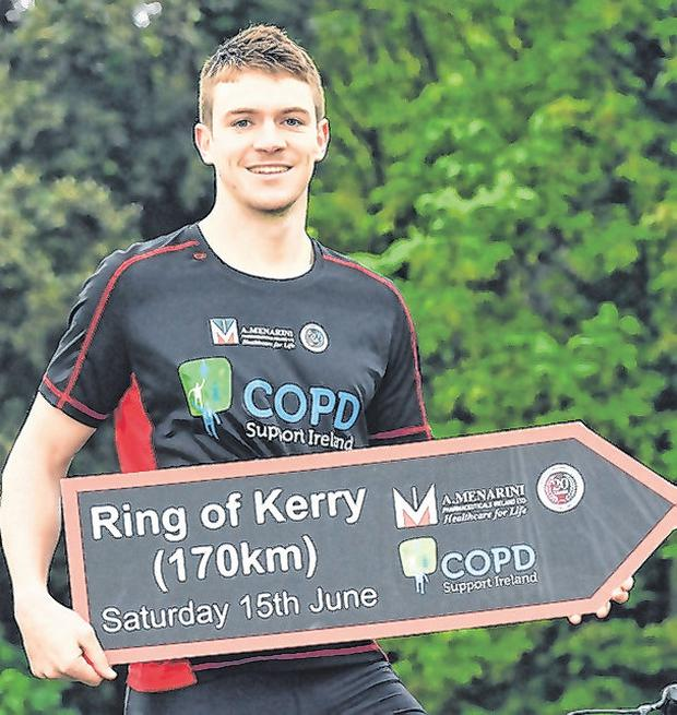 Kildare's Kevin Feely promoting the COPD Cycle on the ing of Kerry. Photo: Brendan Moran/Sportsfile