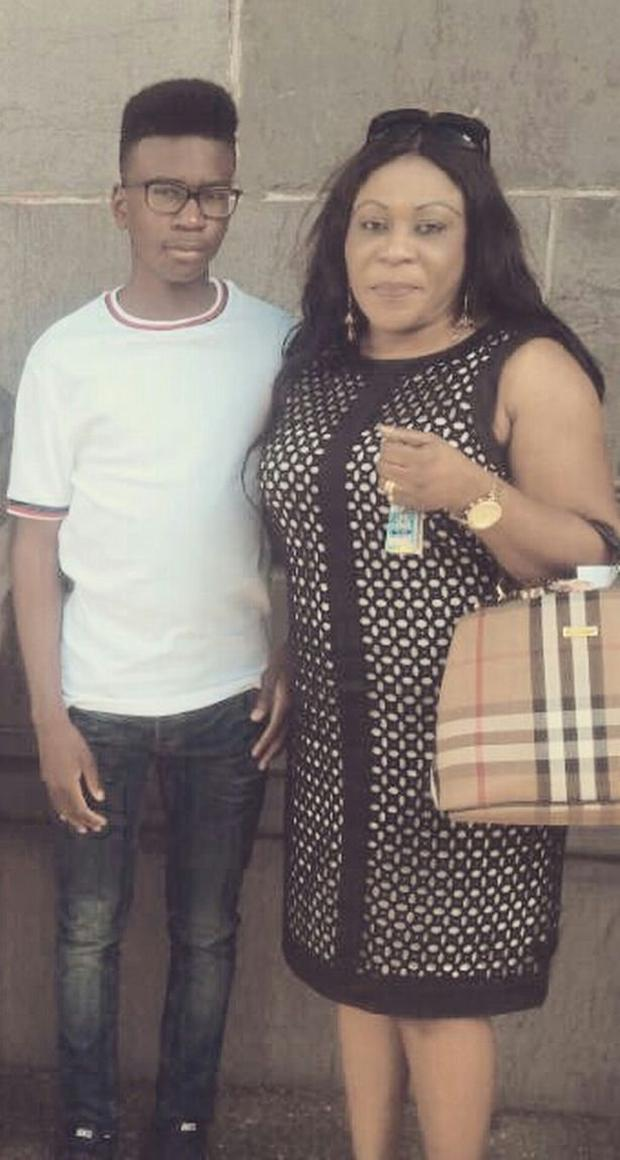 Tega Agberhiere and his mum Christy.