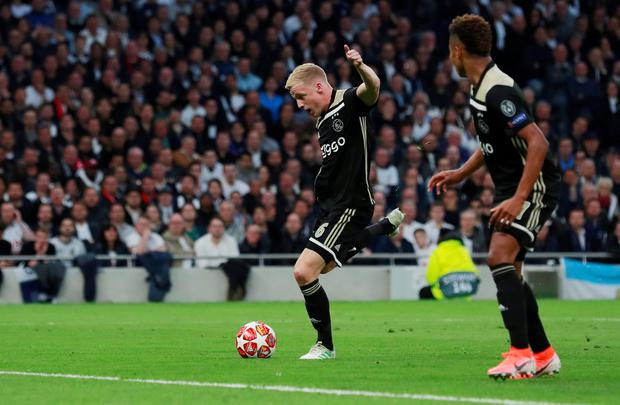 Ajax's Donny van de Beek, pictured scoring against Spurs in the Champions League semi-final first leg win at the Tottenham Hotspur Stadium. Photo: Action Images via Reuters/Andrew Couldridge