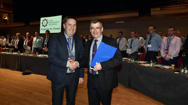 Conference: Garda Commissioner Drew Harris is welcomed by GRA President Jim Mulligan PHOTO: DON MACMONAGLE