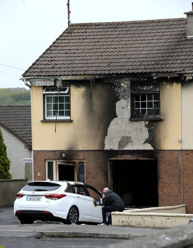 Arson: a fire-damaged house in Loughboy, Mell, Drogheda. Picture: Caroline Quinn