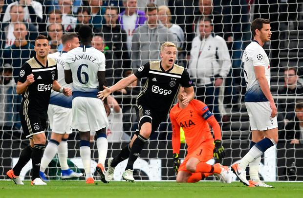 First blood: Donny van de Beek of Ajax celebrates after scoring the only goal of last night's semi-final in London. Photo: Laurence Griffiths/Getty Images