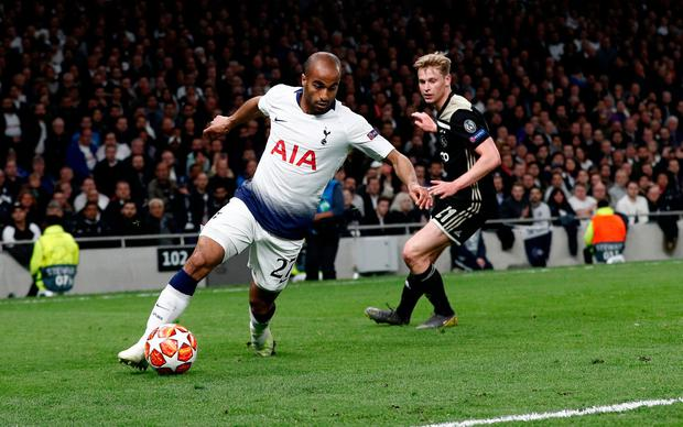 Lucas Moura skips past Ajax midfielder Frenkie de Jong at the edge of the box. Photo: AFP/Getty Images