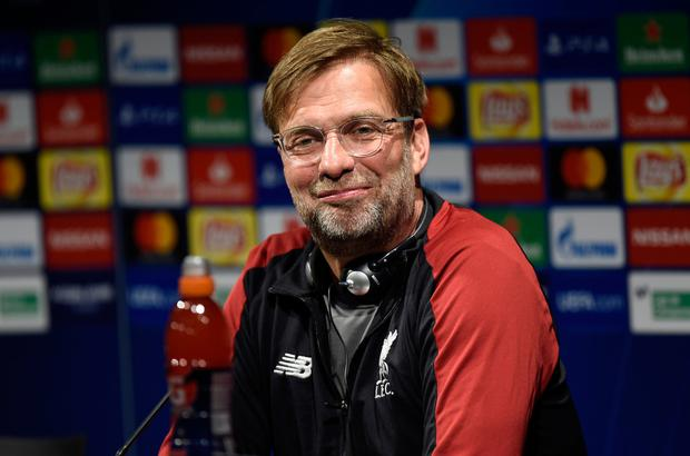 Jurgen Klopp looks on during a Liverpool press conference ahead of their UEFA Champions League semi-final first leg match against FC Barcelona. Photo: Alex Caparros/Getty Images