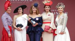 Finalists in the best dressed lady competition, Maria Byrne, from Longford, Vivienne O'Connor, from Celbridge, winner, Gretta Peters, from Tipperary, Joanne Byrne, from Kildare and Sarah Cass, from Kilkenny pictured at the first day of the Punchestown festival, Kildare. Picture credit: Damien Eagers / INM