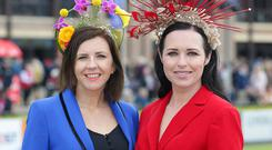 Julie Caulfield, right, Wexford, and Siobhan Daly, Navan, pictured at the second day of the Punchestown festival, Kildare. Picture credit: Damien Eagers / INM