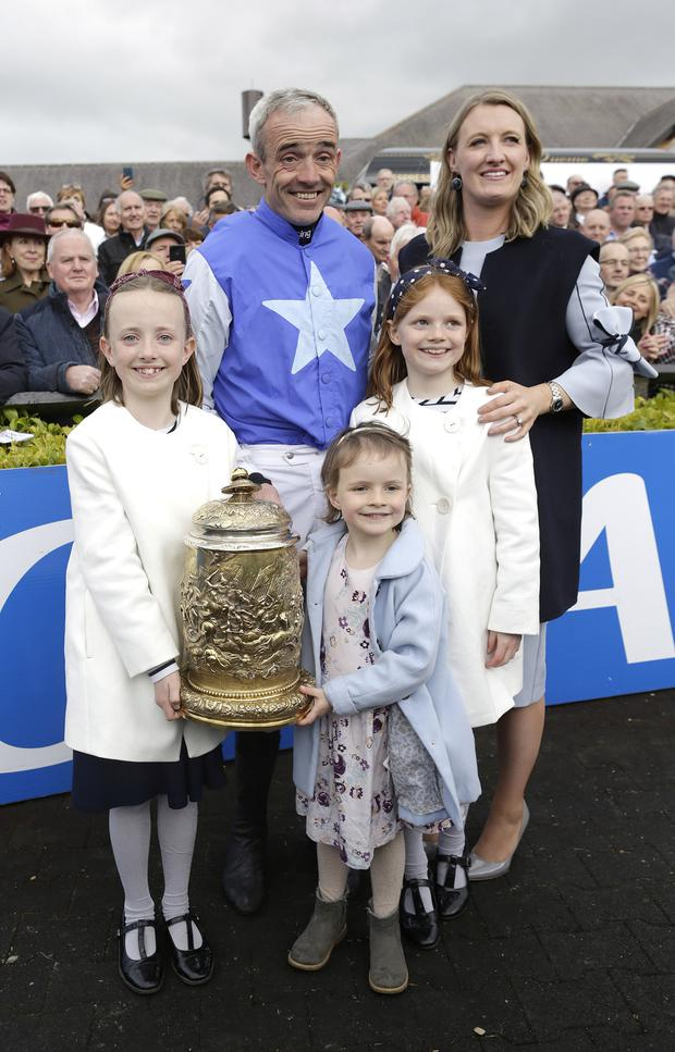 1/5/2019, Jockey, Ruby Walsh with his wife Gillian, and his daughters, Elsa, 8, Isabelle, 9 and Gemma, 5, after he announced his retirement from racing after winning the Coral Punchestown Gold Cup on Kemboy at the second day of the Punchestown festival, Kildare. Picture credit; Damien Eagers / INM