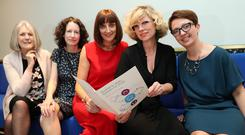 Large survey: (from left) Patricia Stafford, Joan McNaboe, author of the research, Joyce Walsh, of Ulster Bank, Sonya Lennon, of Dress for Success, and Nikki Gallagher, of Solas. Photo: Maxwells Dublin