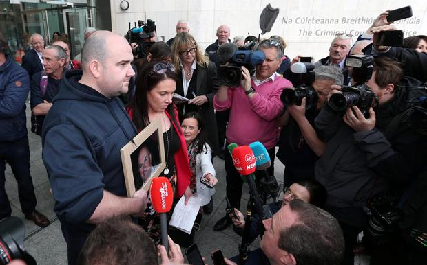Heartfelt tribute: Bobby Ryan's children Robert Ryan and Michelle Ryan at court after Patrick Quirke was convicted of murder. Photo: Colin Keegan, Collins Dublin