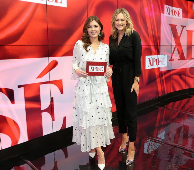 Bonnie Ryan and Csssie Stokes on the set of Virgin Media Television's Xpose. Pic Brian McEvoy
