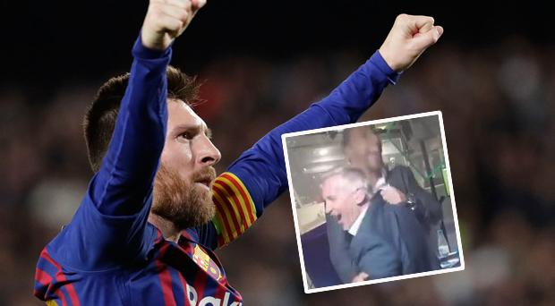 Messi celebrates and (inset) Lineker and Ferdinand