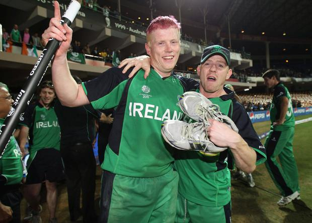 Finest hour: Kevin O'Brien (left) celebrates with his brother Niall after his match-winning World Cup century against England in Bangalore in 2011. Photo: Tom Shaw/Getty Images