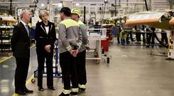 Visit: UK Prime Minister Theresa May meets Bombardier workers in February last year, accompanied by Michael Ryan, president of Bombardier aerostructures and engineering. Photo: Reuters