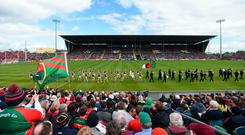 Tribal rivalry: Players from Mayo and Galway parade before last year's Connacht SFC quarter-final – both teams will have their sights set on derailing Dublin's bid for a five-in-a-row. Photo: Sportsfile