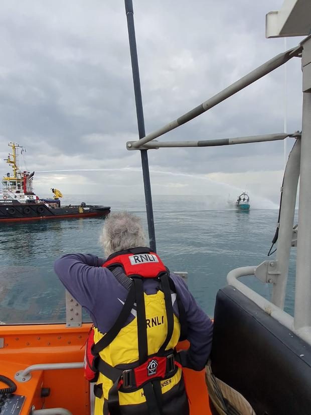 Arklow and Wicklow RNLI involved in rescue of three fishermen from 14m boat that caught fire. Photo: RNLI