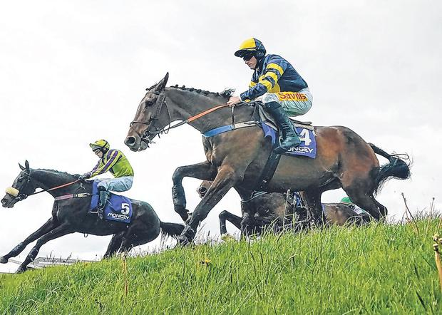 Sean Flanagan steers Ballyboker Bridge (No 4) over 'Ruby's Double' on their way to winning The Mongey Communications La Touche Cup at Punchestown. Photo: Getty
