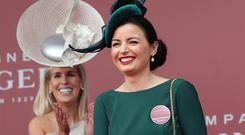 Sarah Cass, from Kilkenny, the winner of the Bollinger best dressed lady competition pictured at the third day of the Punchestown festival, Kildare. Picture credit: Damien Eagers / INM