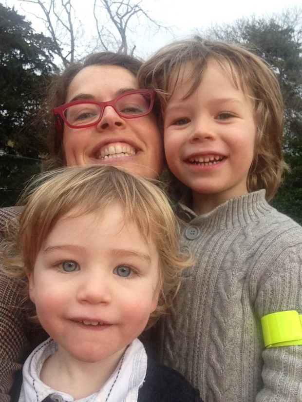 Susan Jane White and her two sons Benjamin and Marty, who were both born at home.