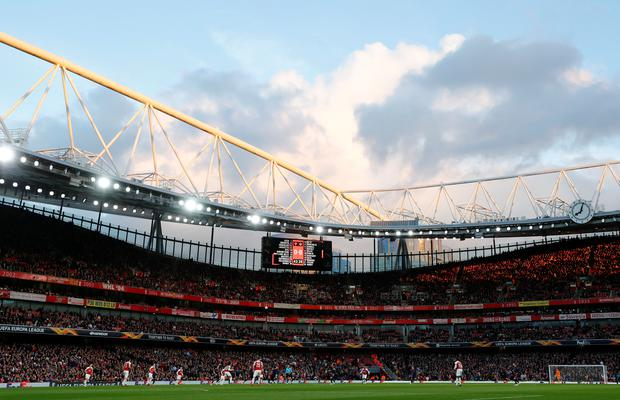 General view during last night's match between Arsenal and Valencia. REUTERS/Eddie Keogh