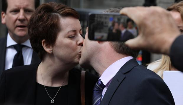 3/5/2019 Ruth Morrissey and her husband, Paul share a kiss outside the Four Courts after a High Court judgement.Pic: Collins Courts