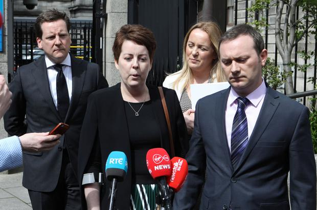 3/5/2019 Ruth Morrissey and her husband, Paul pictured speaking to the media on leaving the Four Courts after a High Court judgement.Pic: Collins Courts