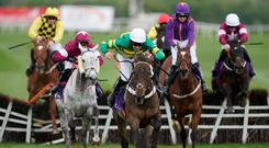 Davy Russell riding Buveur D'Air (green) clear the last to win The BETDAQ Punchestown Champion Hurdle at Punchestown. (Photo by Alan Crowhurst/Getty Images)