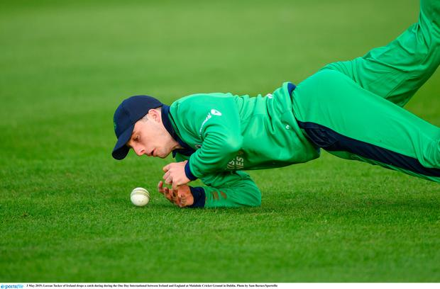 Lorcan Tucker of Ireland drops a catch during during the One Day International between Ireland and England at Malahide Cricket Ground in Dublin. Photo by Sam Barnes/Sportsfile