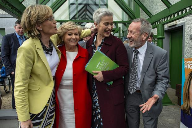 All smiles: Fine Gael candidates Mairead McGuiness, Frances Fitzgerald, Maria Walsh and Seán Kelly at Tuar Árd Arts Centre, Moate, Co Westmeath, yesterday. Photo: Douglas O'Connor