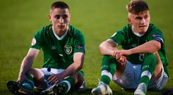 Seamas Keogh, right, and Joe Hodge of Republic of Ireland following the 2019 UEFA European Under-17 Championships Group A match between Republic of Ireland and Greece at Tallaght Stadium in Dublin. Photo by Stephen McCarthy/Sportsfile