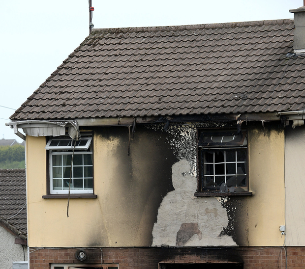 Violence: This house in Drogheda, Co Louth, was damaged as part of the local gang feud. Photo: Caroline Quinn