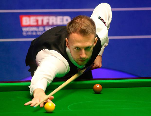 Judd Trump during day fourteen of the 2019 Betfred World Championship at The Crucible, Sheffield. Photo: Nigel French/PA Wire