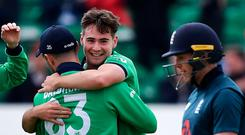 Little at large: Ireland's Josh Little celebrates with team-mates after taking the wicket of Eoin Morgan. Photo: Charles McQuillan/Getty Images