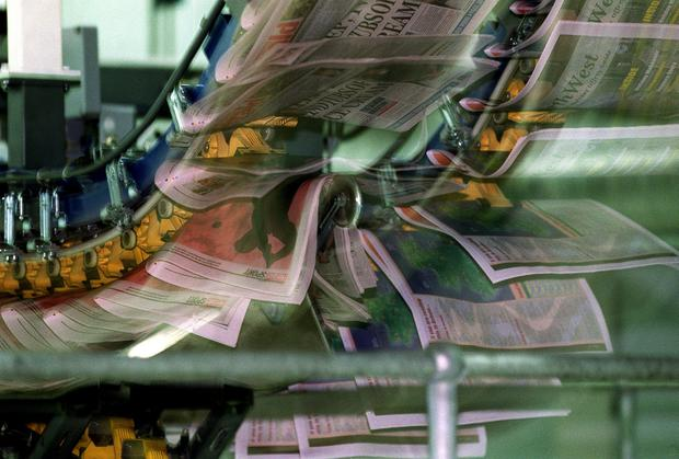 The paper: Copies of the Irish Independent are printed at the Independent News & Media print plant in Citywest, Dublin. Photo: Colin O'Riordan