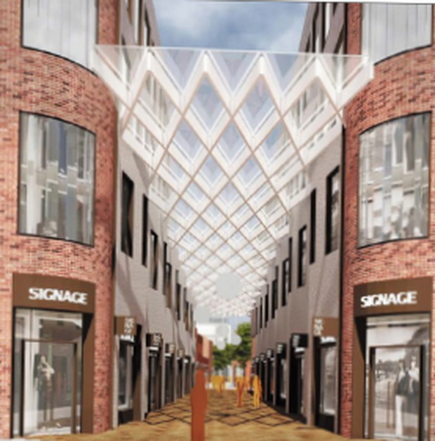 Hammerson's designs for O'Connell St area include a proposed roof over a shopping shopping area by Moore Street