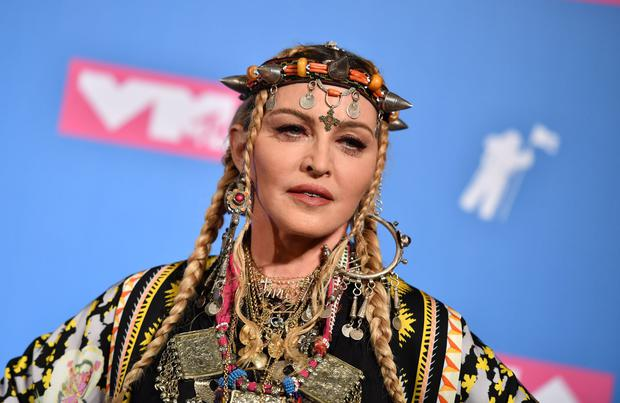 Madonna poses in the press room at the 2018 MTV Video Music Awards at Radio City Music Hall on August 20, 2018 in New York City. (Photo by ANGELA WEISS / AFP)