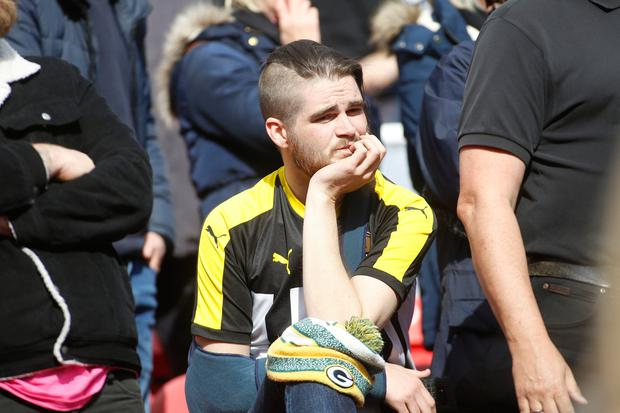 Notts County fans after their teams defeat to Swindon Town results in relegation after the Sky Bet League Two match. Photo credit: Julian Herbert/PA Wire.