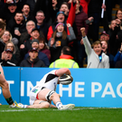4 May 2019; Nick Timoney of Ulster scores his side's first try during the Guinness PRO14 quarter-final match between Ulster and Connacht at Kingspan Stadium in Belfast. Photo by David Fitzgerald/Sportsfile