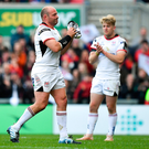 Ulster captain Rory Best leaves the pitch after being substituted during the Guinness PRO14 quarter-final match between Ulster and Connacht at Kingspan Stadium in Belfast. Photo by Brendan Moran/Sportsfile