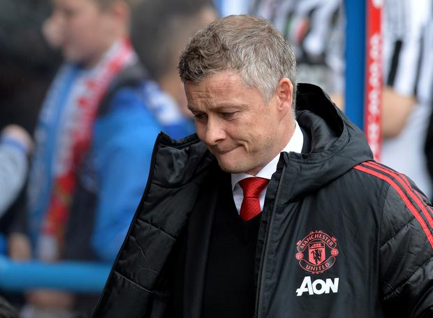 Manchester United manager Ole Gunnar Solskjaer reacts during the match. REUTERS/Peter Powell