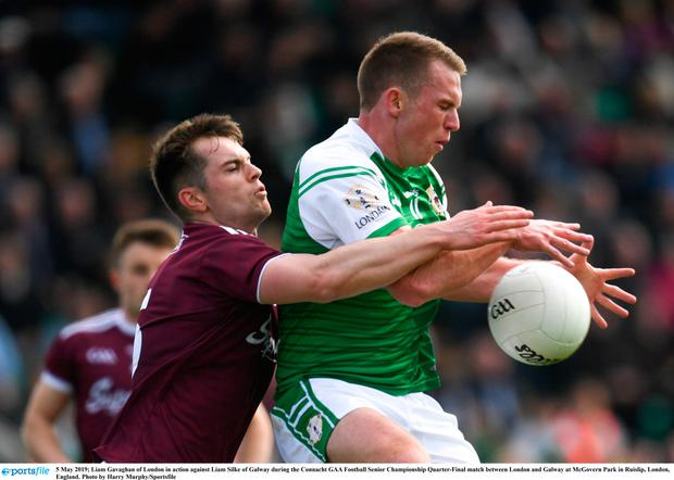 Liam Gavaghan of London in action against Liam Silke of Galway during the Connacht GAA Football Senior Championship Quarter-Final match between London and Galway at McGovern Park in Ruislip, London, England. Photo by Harry Murphy/Sportsfile