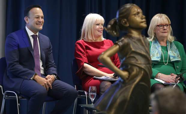 Action plan: Taoiseach Leo Varadkar, Higher Education Minister Mary Mitchell O'Connor, and Marie O'Connor, chair of the gender equality taskforce, at the launch of the Gender Action Plan 2018-2020 at the National Museum in Dublin. Photo: Damien Eagers / INM