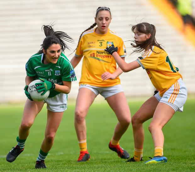 Lisa Maguire of Fermanagh in action against Maria Hanna and Aoife Taggart of Antrim. Photo by Oliver McVeigh/Sportsfile