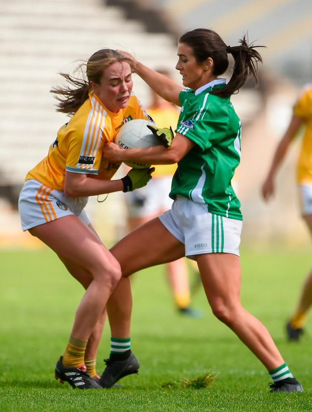 Niamh Enright of Antrim in action against Joanne Doonan of Fermanagh. Photo by Oliver McVeigh/Sportsfile