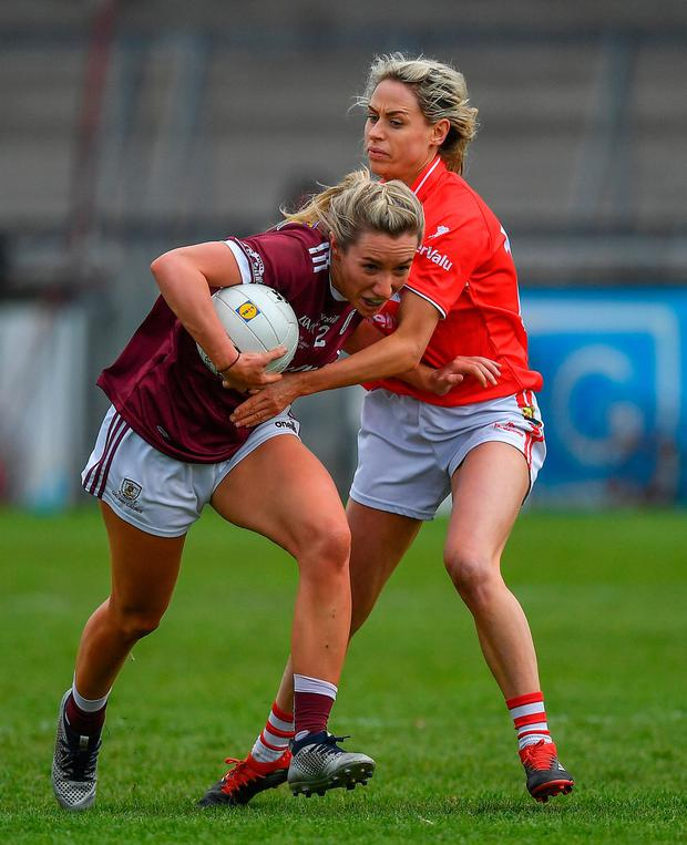 Megan Glynn of Galway in action against Orla Finn of Cork. Photo by Brendan Moran/Sportsfile