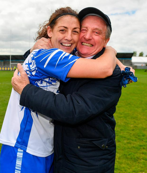 Michelle Ryan celebrates with her father Micheal Ryan, the former Waterford manager, after yesterday's Division 2 final at Parnell Park. Photo by Brendan Moran/Sportsfile