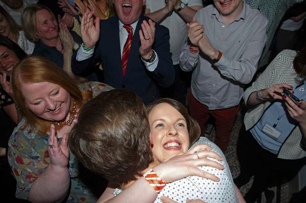 Celebrations: The Alliance Party's Nuala McAllister celebrates as she is elected for the Castle area at Belfast City Hall count centre. Photo: Mark Marlow/PA