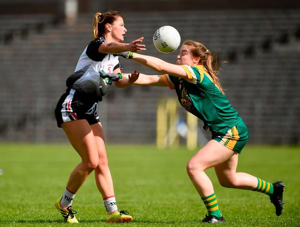 Nilola Brennan of Sligo in action against Orlagh Lally of Meath. Photo by Oliver McVeigh/Sportsfile