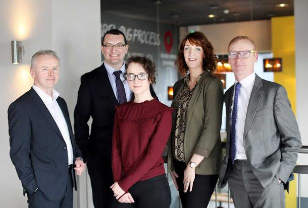 Left to right: Brendan Moran, Site Leader, Teleflex; Ciaran Corcoran, Site Director, Abbott; Jane Coleman, Software Engineer, Ericsson; Michelle Hand, Senior Recruiter, PPD; Colin Donnery, General Manager, FRS Picture: Julien Behal
