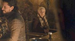 Jon Snow and Daenerys in shot with a Starbucks cup on Game of Thrones